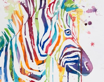 Bright Zebra Watercolor Print- Kristin Douglas