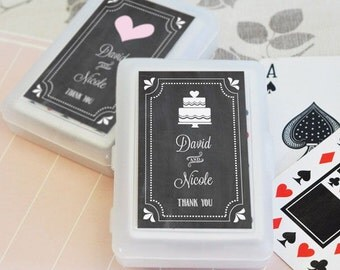 Chalkboard Wedding Personalized Playing Cards Chalk Deck of Cards Casino Royale Rustic Chic Modern Bridal Shower Bachelorette Bachelor Party