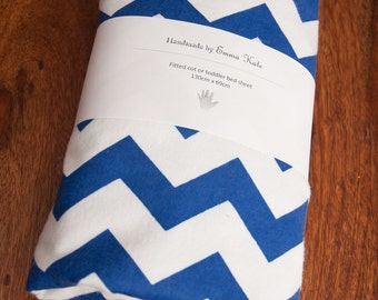 Handmade Blue Chevron Fitted Flannel Cot Sheet