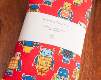 Handmade Robot Fitted Flannel Cot Sheet
