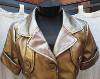 Medium Vintage  Faux LEATHER Blazer
