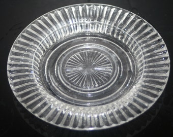 Vintage Clear Glass Dessert Plate, Vintage Glass Plate