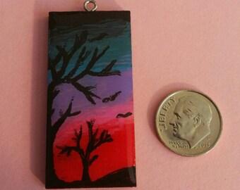Sunset through trees pendant