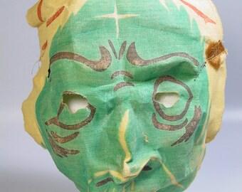 VINTAGE 1930s 1940s HALLOWEEN werewolf gauze mask wolfman Halloween collectible prop costume decoration