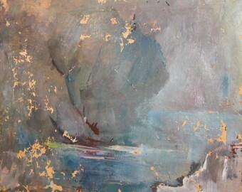 Vintage Impressionist Seascape Oil Painting