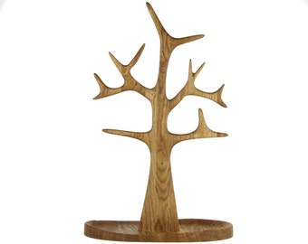 Tall Jewelry and Necklace Tree organizer and display in Solid Oak Wood - Oil Finish
