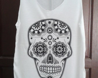 Mexican Skull  Women Singlet Tank Top T shirt  Chest 35 ""