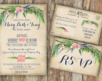 Personalised Rustic Summer Floral Wedding Invitations