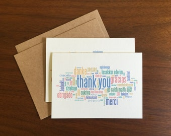Thank You Notecard Greeting Card Blank Note Card Bulk Cards Holiday Card Notecard Set Stationary Multi Language Gift Card Logo Free