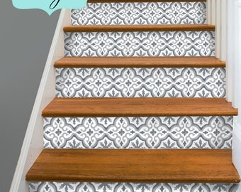 15 Strips Of Stair Riser Vinyl Decal Removable Sticker Peel U0026 Stick: M009  Antigue Marrakech