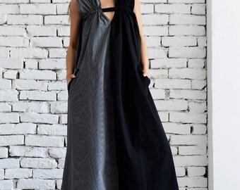Black and Grey Maxi Dress /Grey and Black Asymmetrical Kaftan/Extravagant Long Loose Dress /Party Dress /Daywear Dress by METAMORPHOZA