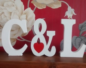initials plus ampersand & sign and red heart, wedding gift, romantic,wooden letters,words,  engagement gift, VALENTINE GIFT