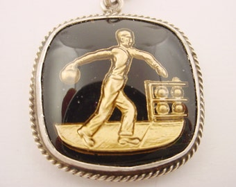 Man Bowling Pendant Great Vintage Black and Gold Intaglio of a Man Bowling Sterling Silver Setting