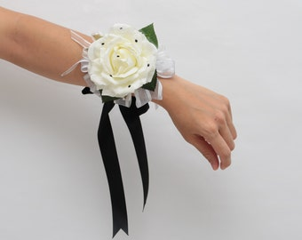 2 pcs white rose and black diamante soft touch wrist corsage and boutonniere set - weddings formals proms - Bridesmaid mothers