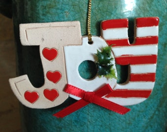 Joy Christmas ornament Joy ornament Joy to the world ornament stoneware ornament red and white striped ornament