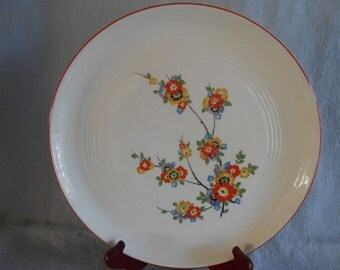 Vintage Knowles Utility Ware Dinner Plate - Off White with Orange, Yellow and Purple Floral