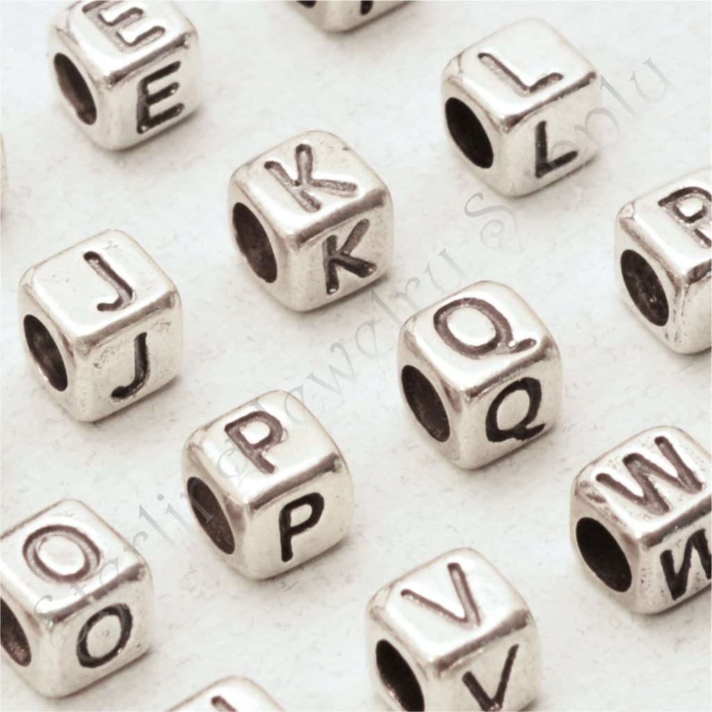 Silver Alphabet Letters: Large Sterling Silver Cube Alphabet Bead 5.2mm 925 Sterling