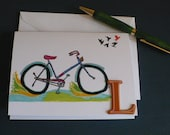 Personalized Note Card Stationery, Letter L Monogram Greeting Card, Bicycle Note Card, Blank Card, Original Artwork