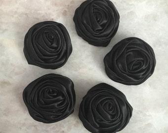 2 inch black rosette, black satin flowers, headband supplies, roses, headband flowers, wedding flowers, silk flowers, rolled flowers,