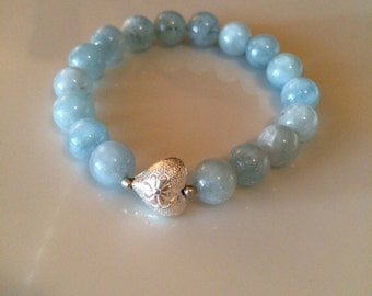 Aquamarine bracelet genuine aquamarine 10mm bracelet sterling silver accents