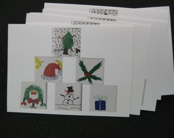 "HOLIDAY CARDS !  pack of 5 with envelopes  5""x7"" large size"