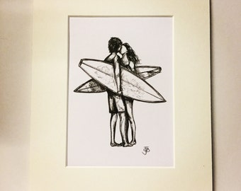 Mounted signed print of biro sketch surfers kiss couple love surfer girl surf art surfgirl illustration wedding anniversary