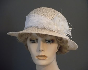 Bridal hat, wedding hat, straw and lace, pearls and flower, white straw hat, hand blocked, straw cloche, bride, wedding, church, tea party
