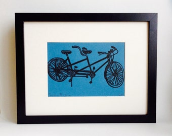 "Tandem Bicycle handmade linocut print 5x7"" - unframed (lake blue). home decor, wall art, wedding gift, anniversary gift, bicycle art"