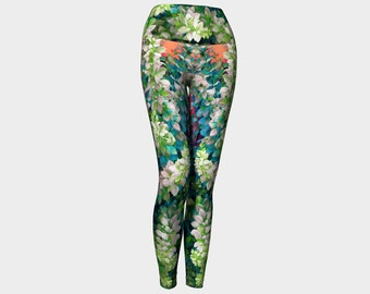 FLORA Yoga  Leggings XS S M L XL Pants Women Teen Ladies Clothes  Fashion Exercise Wearable Art Clothing Floral Flowers Nature Plant