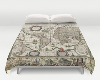 Items similar to moon duvet cover photo black white gray grey moon old world map duvet cover doublefullqueenking bedding bedroom bed home gumiabroncs Images