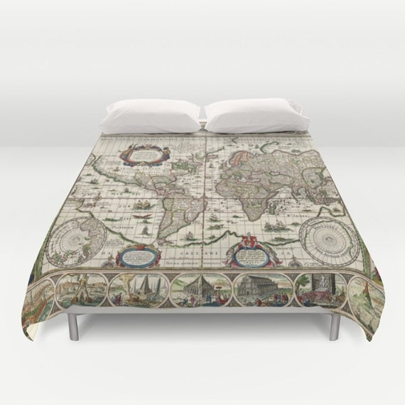 Old world map duvet cover doublefullqueenking bedding like this item gumiabroncs Gallery