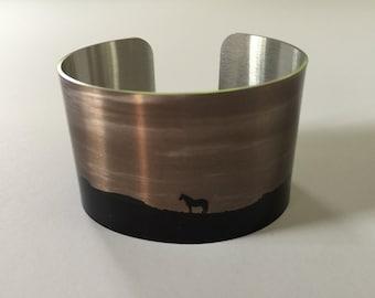 "Horse jewelry.Wild Horse Aluminum Cuff Bracelet. ""Sunrise"""
