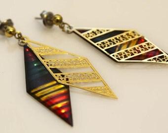 80s Rainbow Stripe Earrings