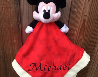 Personalized Mickey Mouse Security Blanket Lovey Blankie