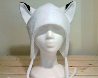 White Fox Hat - Fox Fleece Hat - Aviator Fox Hat - Fox Earflap Hat - Fox Ears - Fox Hat - Fox Cosplay - Anime Manga Goth punk ski Snowboard