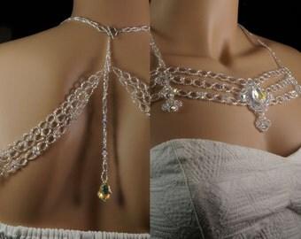 Swarovski crystal beaded bridal shoulder necklace . Swarovski crystal wedding shoulder backdrop necklace. vintage romantic shoulder necklace