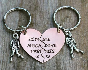 Set of Two Zombie Apocalypse Partners Stamped Metal Keychains with Zombie Charms