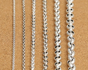 "Sterling Silver Rolo Chain, Sterling Belcher Chain, Rolo Necklace Chain 3.5mm 4mm 5mm 6mm 8mm 10mm 18 20 22 24 26 28 30 32 34 36 38"" - LA403"