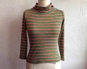 1970s rainbow striped turtleneck