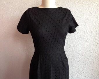 1960s Black eyelet lace dress