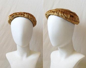 Vintage Velvet Hat // 50s 60s Butternut Hat // 1950s 1950s Silk Velvet Hat // vintage butternut velvet hat