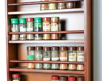 Wooden Spice Rack - Closed Top - 4 Tiers - Wooden Bar - 72 Herb and Spice Jars