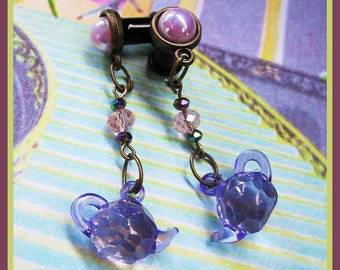 "Dainty Tea Pot bronze stretched Fairy Tale dangle EAR PLUG earrings you pick the gauge size 6g, 4g, 2g, 0g, 7/16"" aka 4mm, 5mm, 6mm, 8mm"