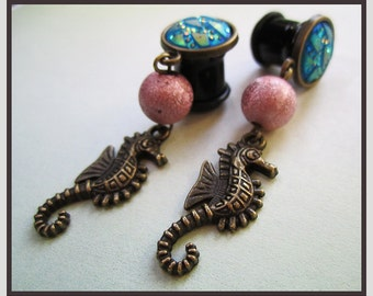 "The Rustic Seahorse stretched dangle sea life earrings EAR PLUG pick the gauge size 2g, 0g, 00g, 7/16"", 1/2"" aka 6mm, 8mm, 10mm, 12mm"