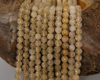 Rutilated Quartz 6mm 7mm Smooth Round Gemstone Beads -15 inch strand