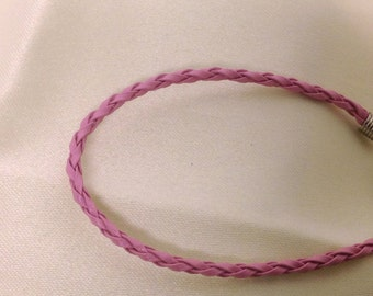 Light Pink Leather Braided Bracelet , men , women, teens, simple , clean, wrist, gift