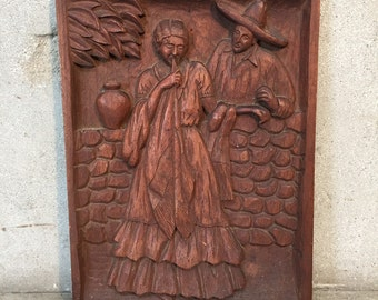 Mexican Bas Relief Carving by J. Rosas (L442EQ )
