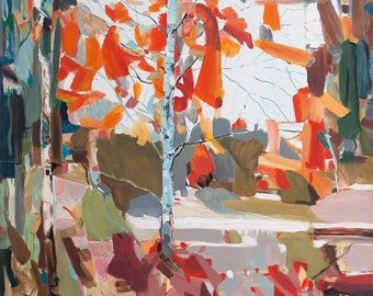 Original Oil painting landscape Autumn Modern Art