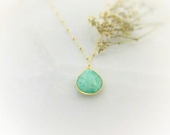 Large Green Chalcedony Necklace - Gold Satellite Chain - Gemstone Pendant - Satellite Chain Necklace - Green Stone Necklace - Teardrop Stone