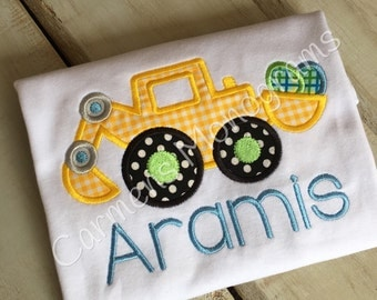 Personalized Boys Appliqued Digger with Easter Eggs on Tshirt or Bodysuit, Easter Appliqued Tshirt